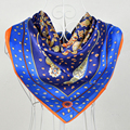 Summer 90*90cm Dark Blue 100% Mulberry Silk Scarves,Hot Sale Butterfly Pattern 100% Silk Crepe Satin Scarf Shawl Printed