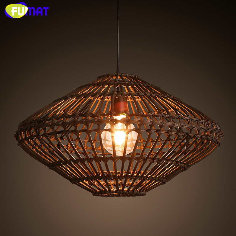 FUMAT Pendant Lights Cord Wood Lamp Chinese Dinning Room Vintage Pendant Lamp Hand Knitted Wicker Hanging Lamps
