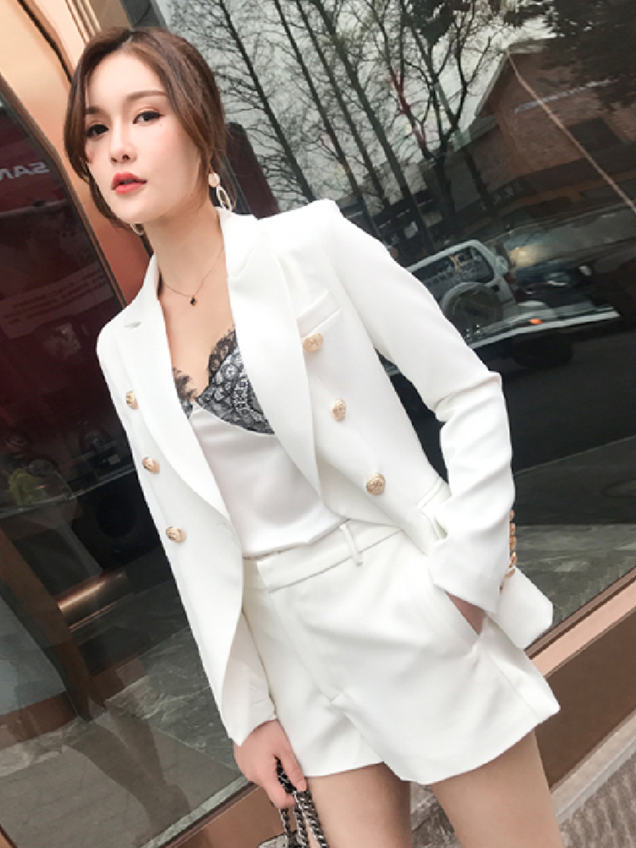 New Fashion high quality Women's white Blazer Suit Jacket Women's Double Breasted Metal Lion Buttons Blazer Office lady Coat