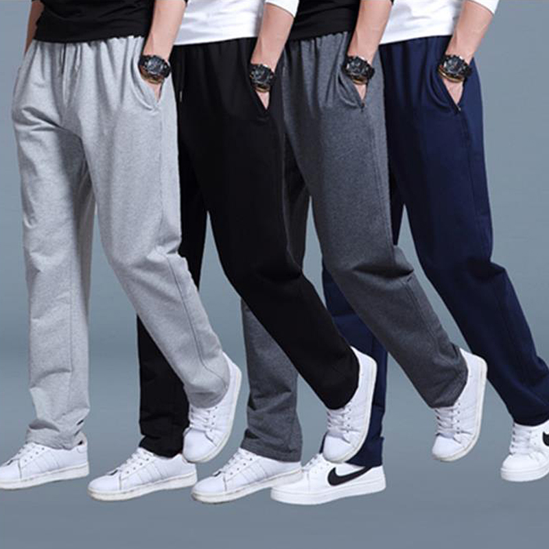 2019 Pure Cotton Men's Casual Pants Spring Summer Winter Men's Sweatpants Trousers High Waist Loose Straight Sweatpants Trousers