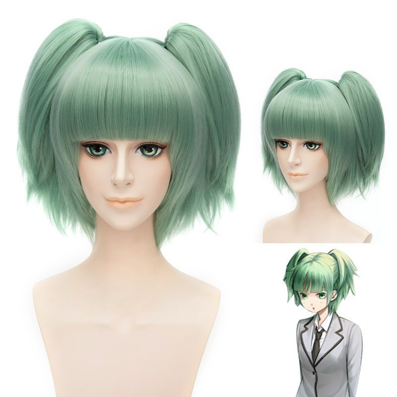 Anime Assassination Classroom Cosplay Wig Ansatsu Kyoushitsu Kaede Kayano Green Synthetic Hair Short Base Wig Ponytails Cleaning The Oral Cavity.