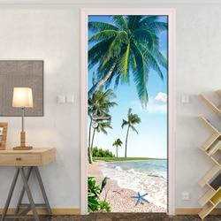 Plaża kokosowe drzewo błękitne niebo 3D fototapeta Mural salon łazienka drzwi naklejki samoprzylepne wodoodporne winylu ściany papieru