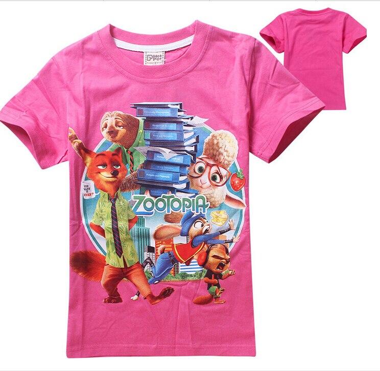 HOT 2016 girls boys t shirts zootopia kids T shirt cartoon nick wilde baby boy clothes
