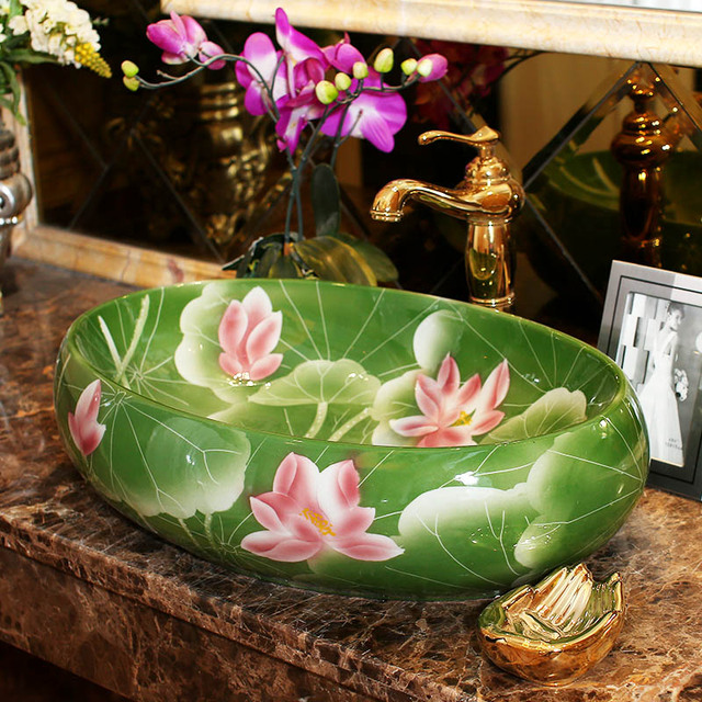 Oval counter top wash basin cloakroom hand painted vessel sink oval counter top wash basin cloakroom hand painted vessel sink bathroom sinks lotus flower hand made mightylinksfo
