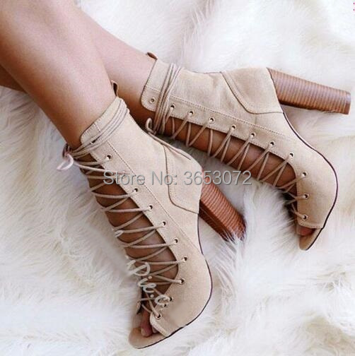 BTO2  Ankle Boots Shoes Lace Up Wedge Heels Pointed Toe Hollow Leather Boots