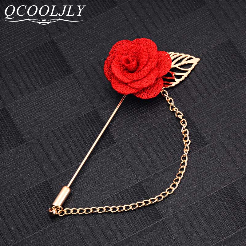 Men/'s Solid Flower Lapel Pin Clutch Back with Chain