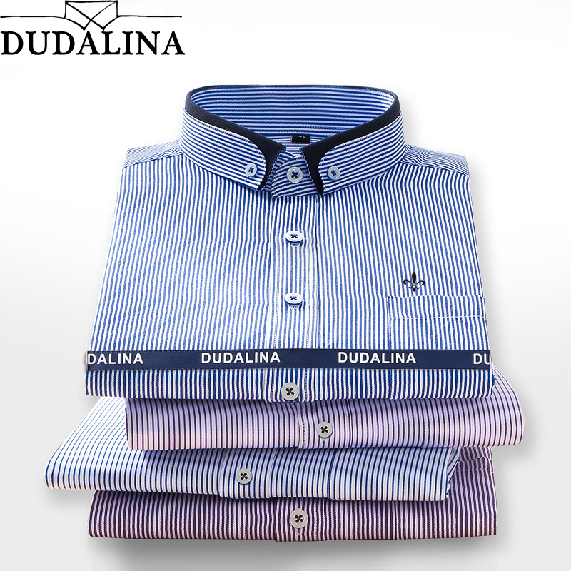bda4bb64c63ff1e DUDALINA 2019 Мужская рубашка с длинными рукавами мужские классические  деловые рубашки в полоску брендовая Рабочая Рубашка