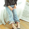 2017 Spring and Autumn fitted new girls Slim pants in chiffon lace trumpet jeans free shipping