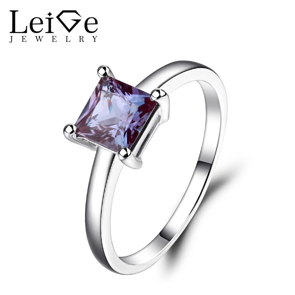 Leige bijoux Solitaire pierres précieuses anneaux pour femmes Alexandrite bague de fiançailles princesse coupe en argent Sterling 925 bijoux fins
