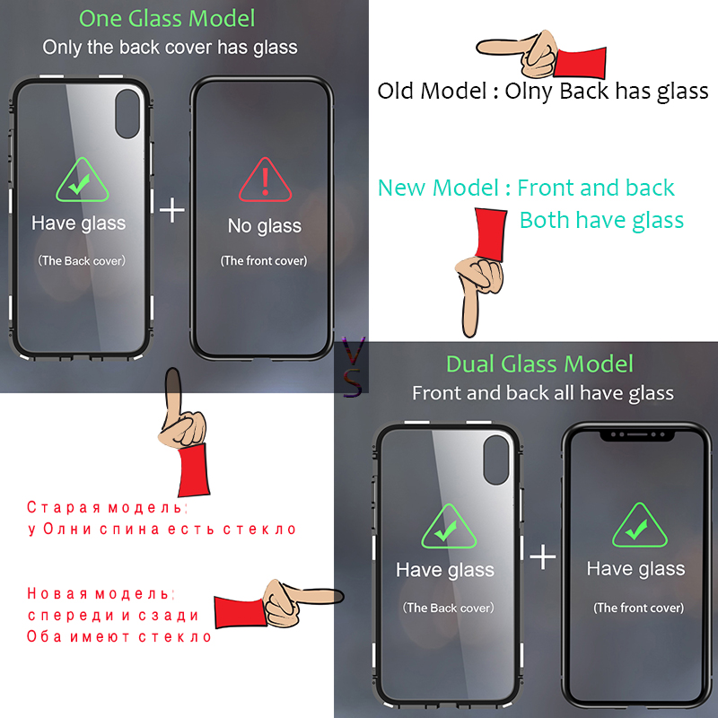 Suntaiho Magnetic Adsorption Case for iPhone X XS 8 Plus 7 Dual Tempered Glass Metal Frame Magnet Cases for iPhone X 8 7 Plus