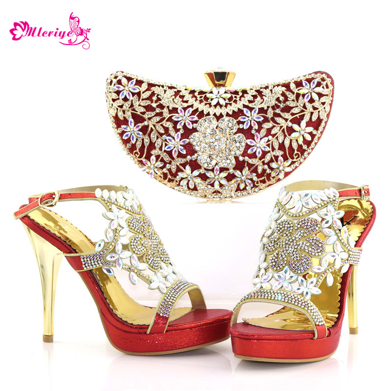 Latest Women Shoes and Bags To Match Set Sale Ladies Shoes with Matching Bags Set Decorated with Rhinestone Womens Shoes Heels цены