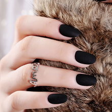 24pcs Rounded Matte Black False Nails Artificia Plastic Impress Fingernails Oval Fake Short Nepnagels For Girls