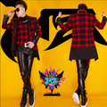 New Male singer DJ nightclub EXO same paragraph brushed fleece material red and black grid leather stitching the suit costumes