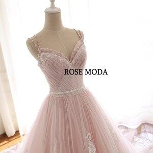 Image 5 - Hoa Hồng Moda Tuyệt Đẹp Bụi Hoa Hồng Hồng Áo Cưới Cổ V Phối Ren Váy Áo Với Hoa Ảnh Thật
