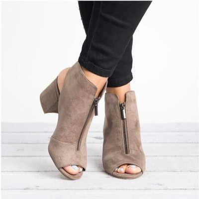 Новые ботильоны из искусственной кожи или замши; Повседневное открытые туфли с открытым носком на высоком каблуке модные ботинки на молнии квадратный; резиновый черная обувь для женские размеры 34–43