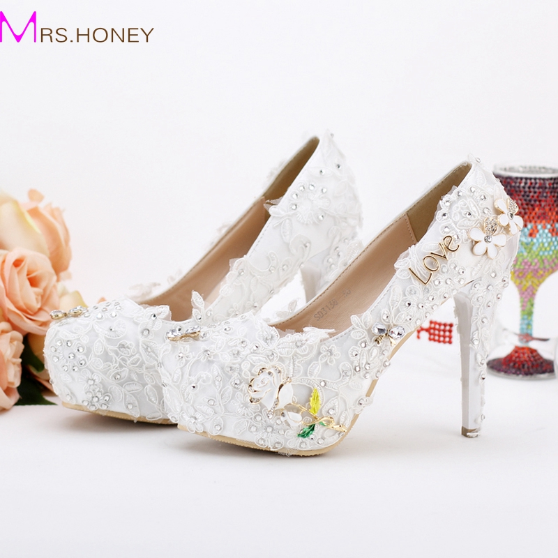 12cm New Wedding Shoes Pageant Wedding Party Dress Shoes Custom Made Graceful Lace Flower Bridal Shoes Pumps Satin Material
