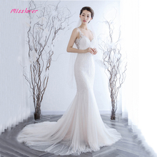 Vestido de noiva Sexy Illusion Back Mermaid Wedding Dresses