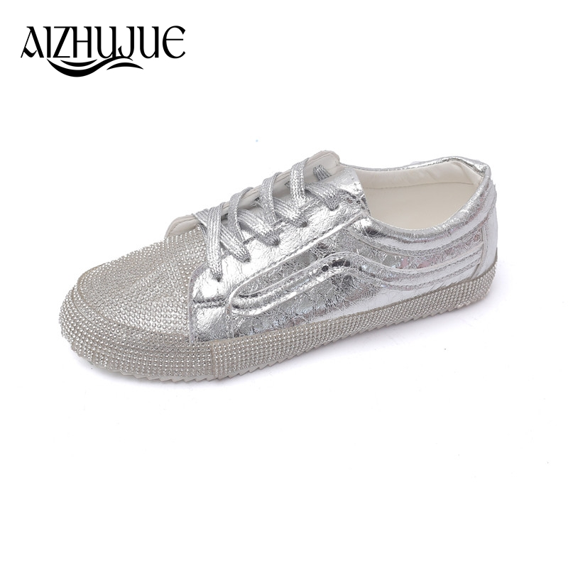 Rhinestone Moccasins Women Silver Red Shoes Female Soft Breathable Casual  Shoes PU Leather Students Lace Up Flat shoes Woman-in Women s Flats from  Shoes on ... a97e008d5a92
