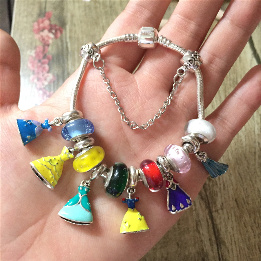 Fashion Exquisite Princess Dress Charms Murano Glass Beads Bracelets