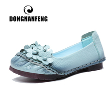DONGNANFENG Women Old Female Ladies Shoes Flats Cow Genuine Leather PU Floral Loafers Flower Non Slip On Soft Size 35-41 BC-580 цена
