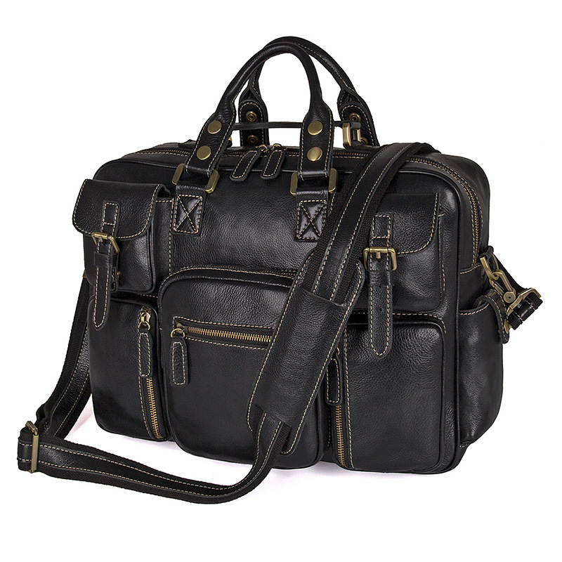 Nesitu High Quality Large Capacity Black Genuine Leather Mens Travel Bags Briefcase Handbags Messenger Bags M7028