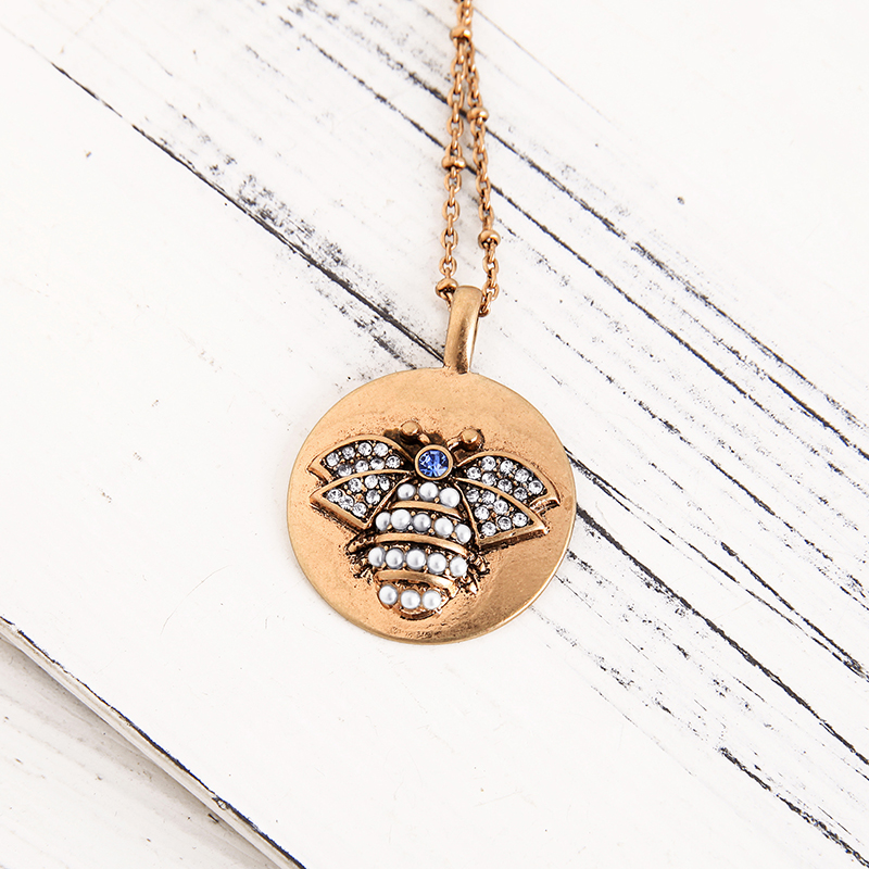 JOOLIM Retro Antique Gold Pearl Bee Pendant Necklace 2019 Spring Summer Necklace Fashion Jewelry Wholesale in Pendant Necklaces from Jewelry Accessories