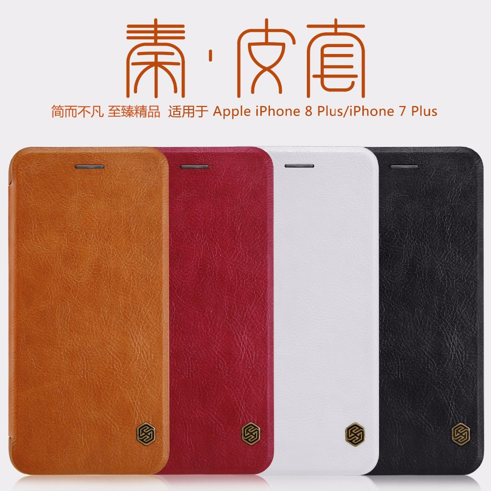 Nillkin QIN PU leather Case for Apple iphone 7 8 7plus 8plus Card Pocket wallet bag flip cover For iphone 8 /8 plus