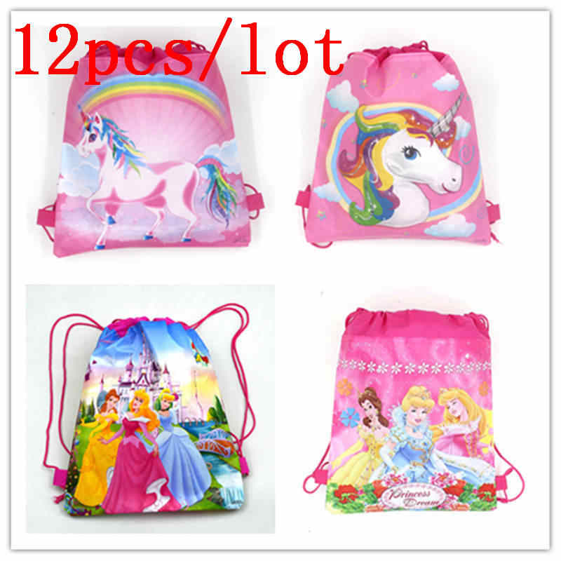 Cartoon Unicorn  12Pcs/Lot Drawstring Bags Child Birthday Party Six Princess String Bags Girl Favor String Back Bags Supplies