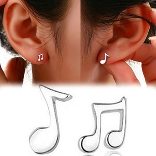 1 Pair Women Asymmetry Musical Notes Silver Plated Ear Studs Earrings Jewelry