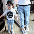 2017 New Spring & Autumn Baby Kids Casual Ripped Jeans Little Girls Fashion Holes Denim Pants Children's Clothing Trousers G538
