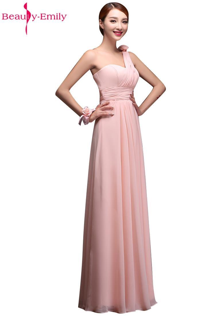 Venta caliente Blush Rosa vestidos de Dama de Honor Vestidos de Gasa Vestido De Festa Longo Vestidos de Fiesta de La Boda Elegante Piso-Longitud 2015
