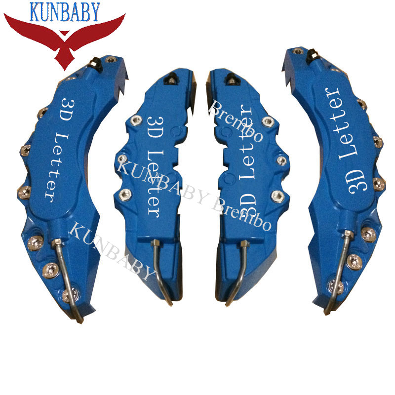 KUNBABY 4 Pcs ABS Plastic Blue Car Auto 3D Word Style Disc Brake Caliper Covers Front And Rear Size M+L 2 pair universal car 3d style disc brake caliper covers front rear