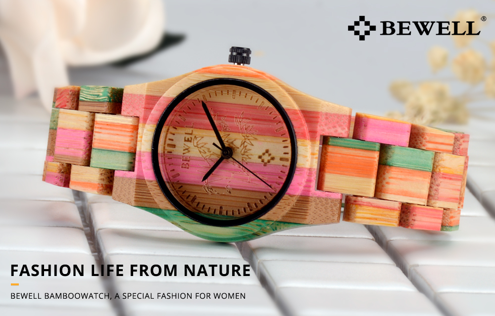 BEWELL Ladies Natural Bamboo Handmade Multi-colour Watch