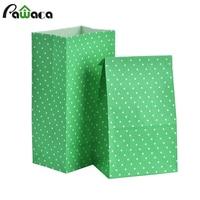 50 PCS Kraft Papier Sac Stand Up Polka Dot Emballage Sac De Papier enfants Snack Candy Buffet Faveur Cadeau Offrez Sacs De Noce Fournitures