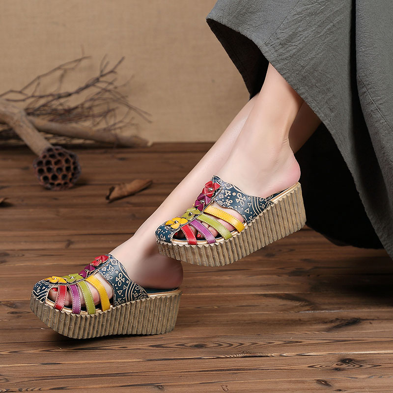 2019 Summer New Hollow Out Handmade Shoes Women Slides Genuine Leather Cover Toes Flower Female Platform