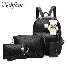 Shangfanni Новинка 2017 года узор четыре штуки наборы из искусственной кожи рюкзак Летняя мода сочетание мешок Корейский сумка с медведем