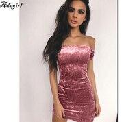 Adogirl 2018 Nova Mulheres Velvet Vestido de Verão Ladies Casual Sexy Básica Bainha Barra Pescoço Escritório Bodycon Vestidos Mini Vestido Vintage