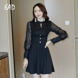 EAD Spring Chiffon Lady Transparent Lace Dress Women Sexy Mesh Party Dresses for Female Black Streetwear Buttom Casual Vestidos 1