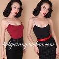 2015 outono nova frete grátis algodão Nylon apertado curto Top curto mulheres moda Red tanque preto Tops elástica de alta qualidade Sexy S L