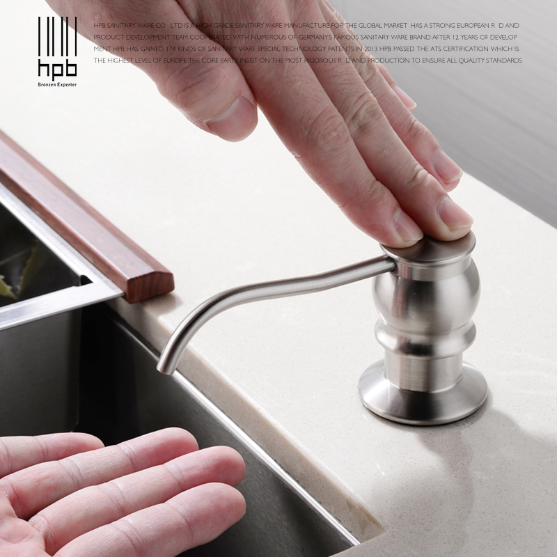 HPB Brushed Kitchen Soap Dispensers Deck Mounted Soap Dispensers for Kitchen Built in Countertop dispensador de jabon HP4502