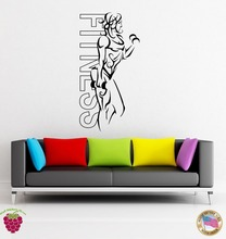 Wall Stickers Vinyl Fitness Girl Woman Iron Sport Yoga Health