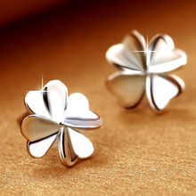 Фотография 1 Pair Women Ear Studs Silver Flower Diy Earrings High Quality Earring with Women Wedding Jewelry Gift HER018