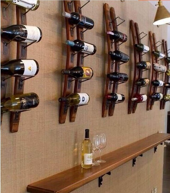 Wall Mounted Wood Wine Rack Wine Rack Ikea Creative Personality