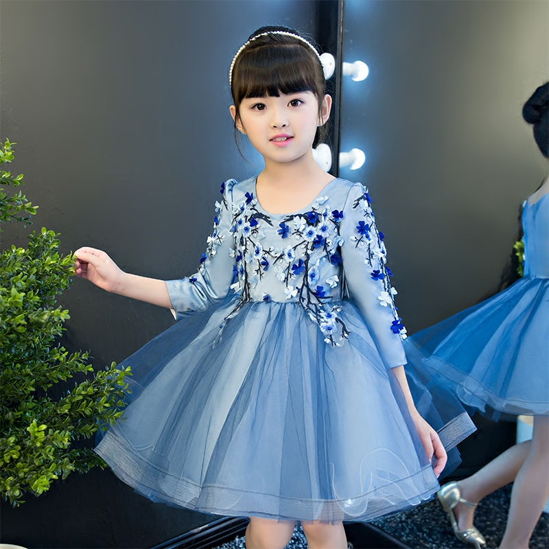 2017 New Korean Sweet Kids Girls Flowers Dress Birthday Party Ball Gown Fancy Princess Dresses Children Wedding Clothes Dress new summer dress sequined flowers bow kids dresses for girls clothes solid birthday party robe princess dress wedding vestido