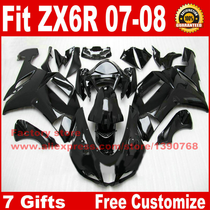 Hot fairings for Kawasaki ZX6R fairing kits 2007 2008 all glossy black plastic bodywork parts ZX-6R 07 08 Ninja 636 ZQ20 injection molding aftermarket set for kawasaki zx 6r 07 08 green black fairings ninja 636 zx6r 2007 2008 fairing kit ye16