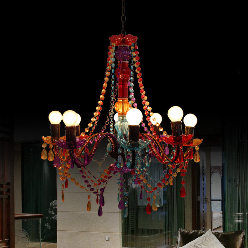European style rural decoration colorful crystal chandeliers restaurants coffee shops colorful dream multi creative Chandelier