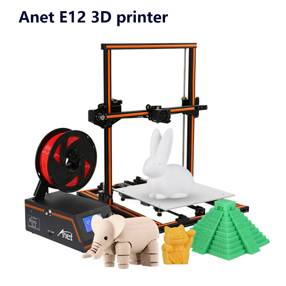 New Anet E12 3D Printer DIY Kit Partially Assembled Aluminum Alloy Frame Super Large Building Volume 300*300*400mm with 8GB TF gzlozone diy kit njw1194 remote volume conrol kit treble