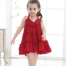 d549cf039e 2018 Solid Red Green Yellow Summer Girls Dress Princess Straps Kids Beach  Dresses For Girl Baby Toddler Children Clothes JW3173