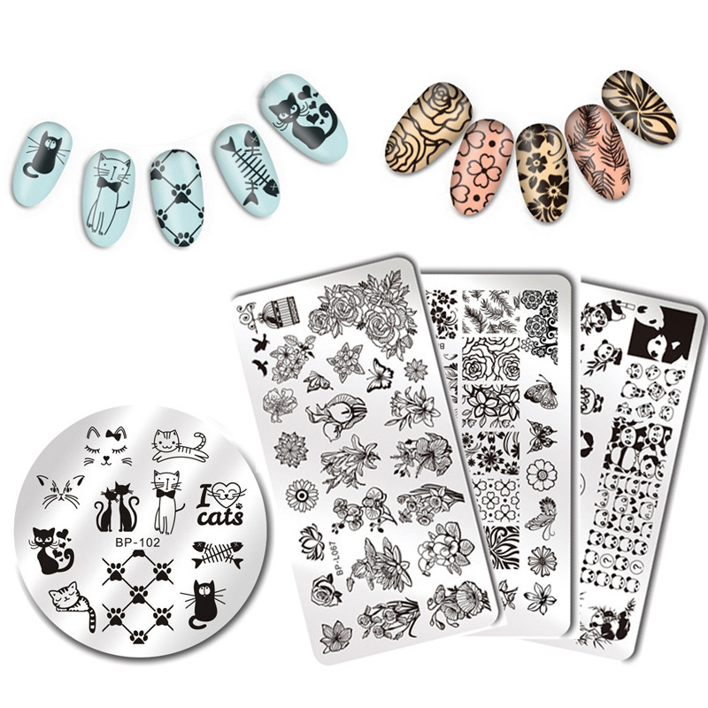 BORN PRETTY Nail Stamping Plates Animal Series Cute Cats Plant Nail Art Stamp Image Template Manicure Stencils Nail Decoration