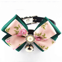 Fashion Luxury Puppy Dogs Kitten Flower Bowknot Collar With Bell Wedding Decoration Puppy Pets Accessories Red